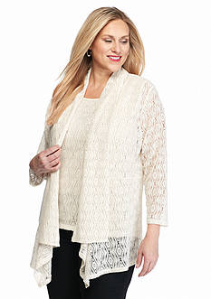 Kasper Plus Size Knit Lace Flyaway Shrug