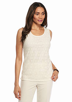 Kasper Knit Lace Sleeveless Top