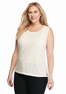Kasper Plus Size Knit Lace Sleeveless Top