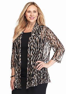 Kasper Plus Size Mesh Animal Print Jacket