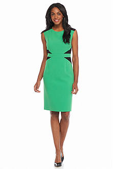 Kasper Petite Colorblock Waist Sheath Dress
