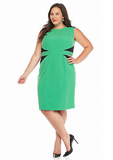 Kasper Plus Size Colorblock Crepe Sheath Dress
