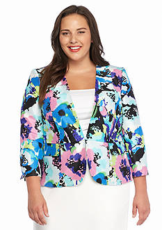 Kasper Plus Size Print Shantung Jacket