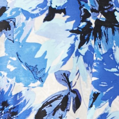 Women's Suits: Blue Kasper Hibiscus Print Flyaway Jacket