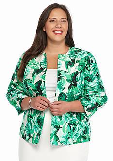 Kasper Plus Size Hibiscus Print Flyaway Jacket