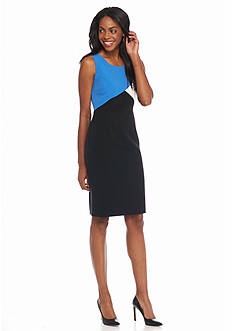 Kasper Petite Colorblock Stretch Crepe Sheath Dress