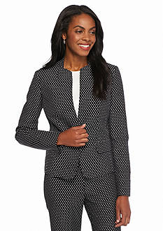 Kasper Inverted Collar Dot Print Jacket