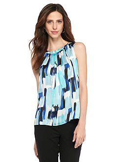 Kasper Petite Water Color Print Sleeveless Blouse