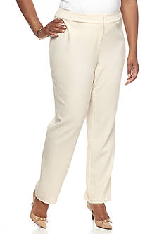 Kasper Plus Size Solid Slim Fit Pants