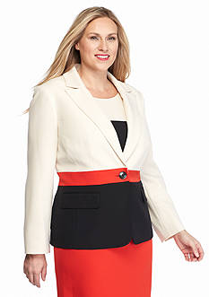 Kasper Plus Size Single Button Colorblock Jacket