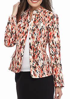 Kasper Petite Print Open Front Jacket