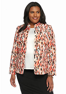 Kasper Plus Size Print Open Front Jacket