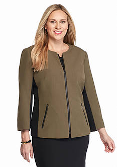Kasper Plus Size Zip Front Jacket