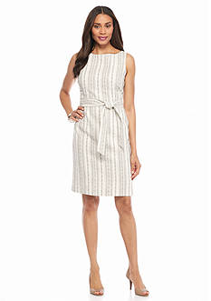 Kasper Linen Stripe Self Belt Dress