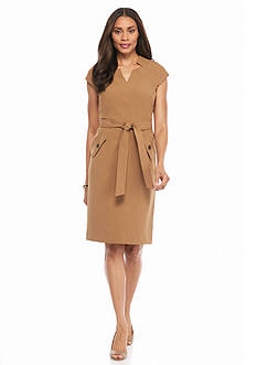 Kasper Cap Sleeve Self Belt Dress