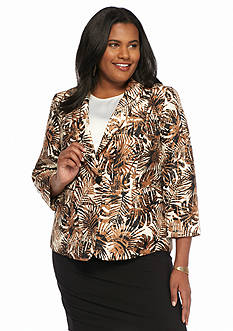 Kasper Plus Size Print Button Front Jacket