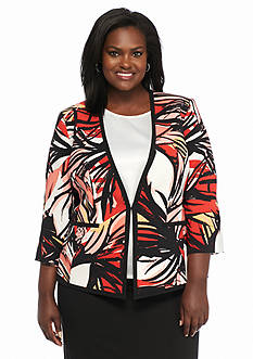 Kasper Plus Size Printed Framed Jacket