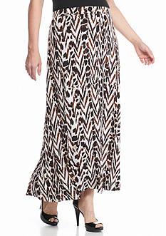Kasper Plus Size Jersey Knit Print Maxi Skirt