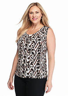 Kasper Plus Size Print Jersey Knit Top
