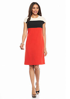 Kasper Cap Sleeve Colorblock Dress
