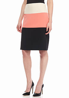 Kasper Colorblock A Line Skirt