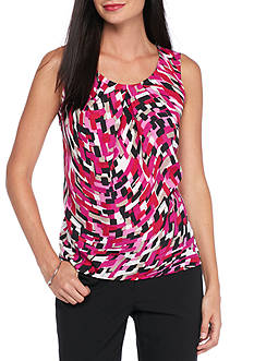 Kasper Plus Size Print Pleated Neck Woven Top