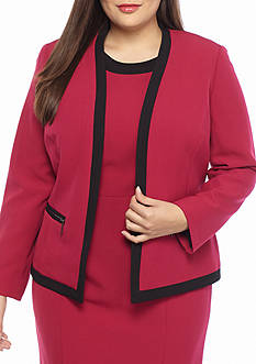 Kasper Plus Size Framed Flyaway Jacket