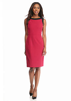Kasper Contrasting Trim Sheath Dress