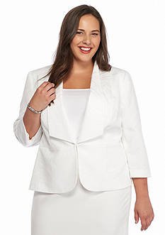 Kasper Plus Size Jacquard Shawl Collar Jacket