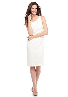 Kasper Solid Jacquard Dress