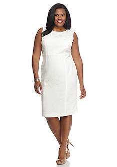 Kasper Plus Size Jacquard Sheath Dress