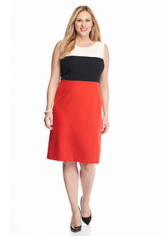 Kasper Plus Size Colorblock Dress