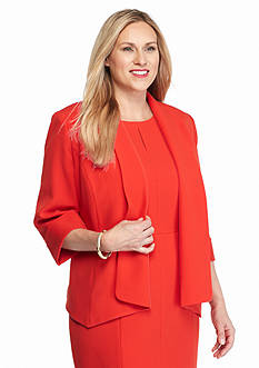 Kasper Plus Size Solid Flyaway Jacket