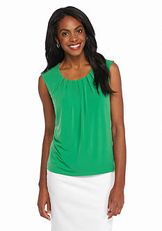 Kasper Petite Solid Pleated Neck Jersey Knit Top