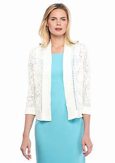 Kasper Open Floral Stitch Sweater Jacket