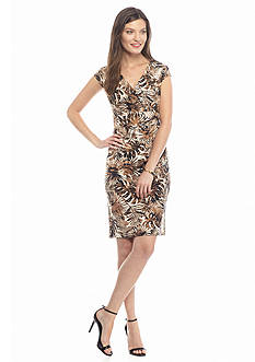 Kasper Printed Jersey Knit Dress