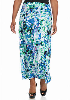 Kasper Plus Size Jersey Knit Print Skirt