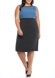 Kasper Plus Size Colorblock Sheath Dress