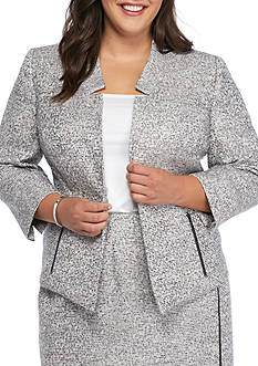 Kasper Plus Size Tweed Flyaway Jacket