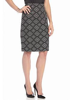 Kasper Print Jacquard Skirt