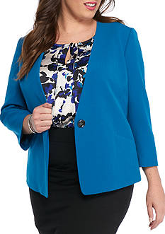 Kasper Plus Size No Collar Jacket