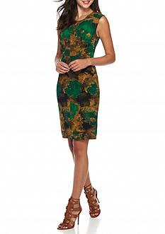 Kasper Print Scuba Crepe Dress