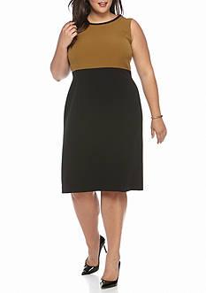 Kasper Plus Size Colorblock Sleeveless Dress
