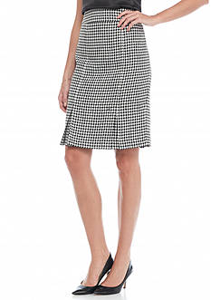 Kasper Houndstooth Skirt