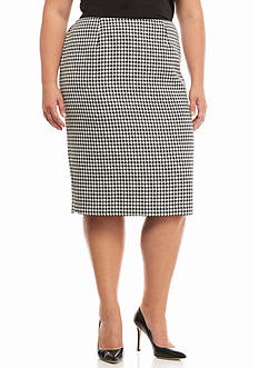 Kasper Plus Size Houndstooth Skirt