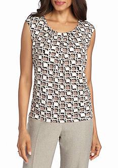 Kasper Print Jersey Knit Top