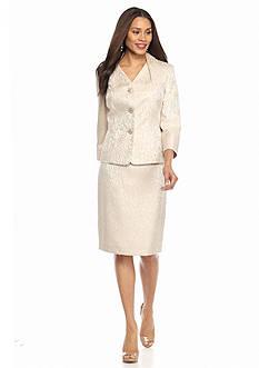 Kasper Champagne Jacquard Skirt Suit