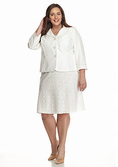 Kasper Plus Size Triple Button Skirt Suit