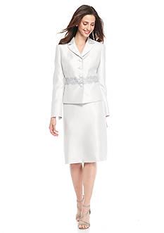 Kasper Silver Embellished Skirt Suit