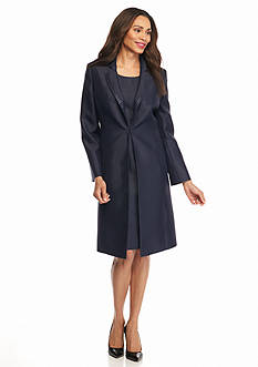 Kasper Solid Long Coat Dress Suit